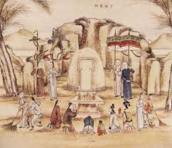 Ancestor worship at the tomb, an ancient Chinese custom.