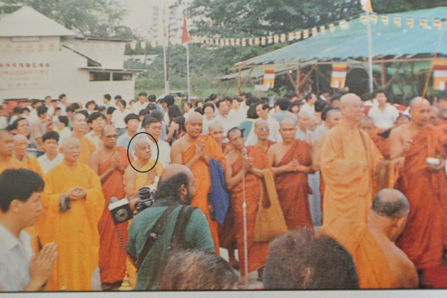 Venerable M M Mahaweera Maha Nayaka Thero at the ground breaking and piling ceremony of Burmese Buddhist Temple at Tai Gin Road on July 9, 1989. (Photo reproduced from Burmese Buddhist Temple souvenir book).