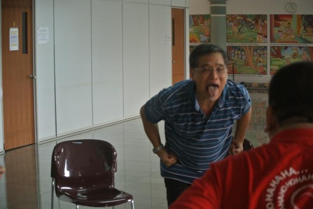 Chairman Dr Lim having fun in 'yack' action.