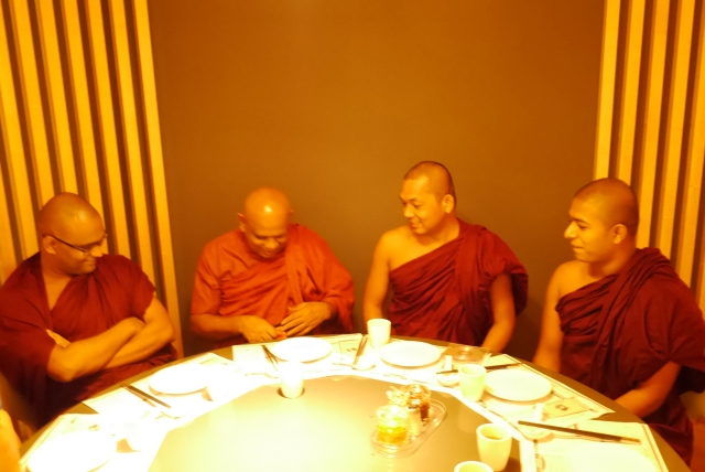 Sangha members (left to right) Bhante Seelananda, Bhante Sumanasiri, Bhante Cakkapala and Bhante Sunitha sharing a lighter moment … … …