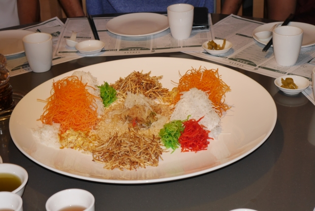A platter of yusheng.