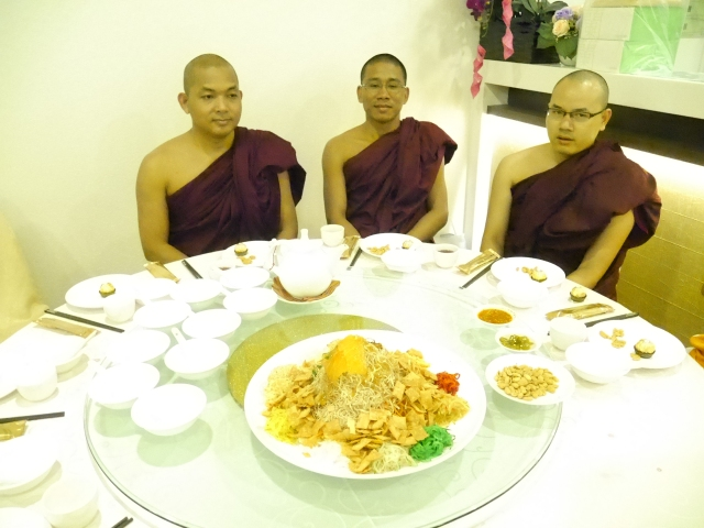 Bhante Cakkapala with two visiting monks, Bhante Indavuhdha and Bhante Vinaya both studying in Sri Lanka, as our guests.