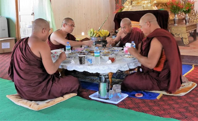 """a bhikkhu consumes food neither for amusement nor for intoxication nor for the sake of physical beauty and attractiveness, but only for the support and maintenance of the body, for avoiding harm, and for assisting the spiritual life.""(AN 4:159)."
