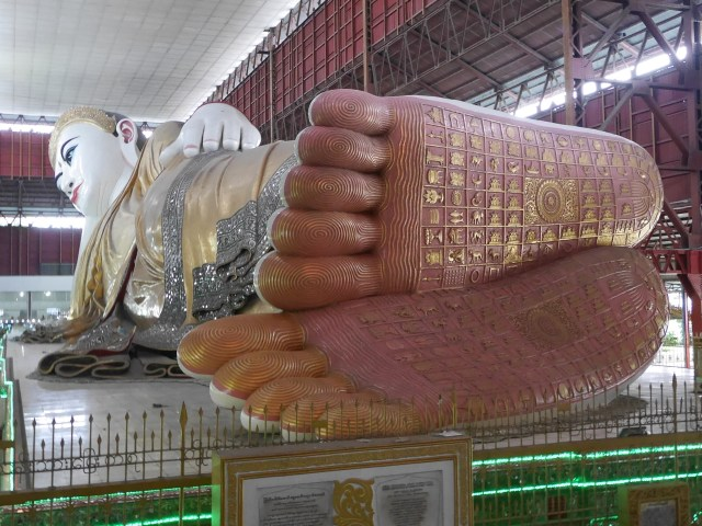 Chauk Htat Gyi reclining Buddha Stature is well known for its captivating beautiful eyes and footprints.